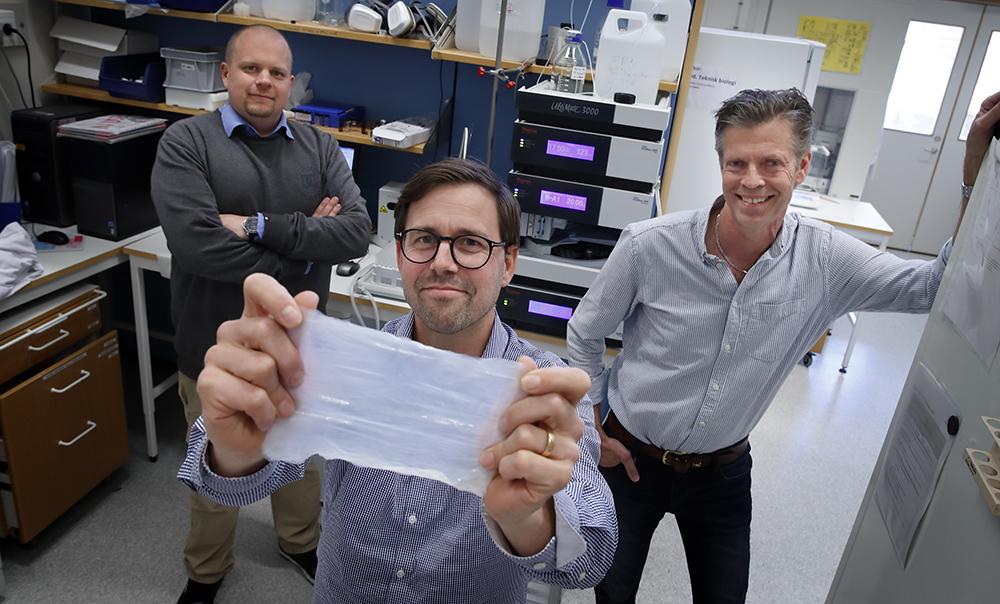 Johan Junker, senior forskare, Katastrofmedicinskt centrum och LiU, Daniel Aili, forskningsledare och biträdande professor, LiU, och Torbjörn Bengtsson, professor i medicinsk cellbiologi, ÖrU. Foto: Lasse Hejdenberg
