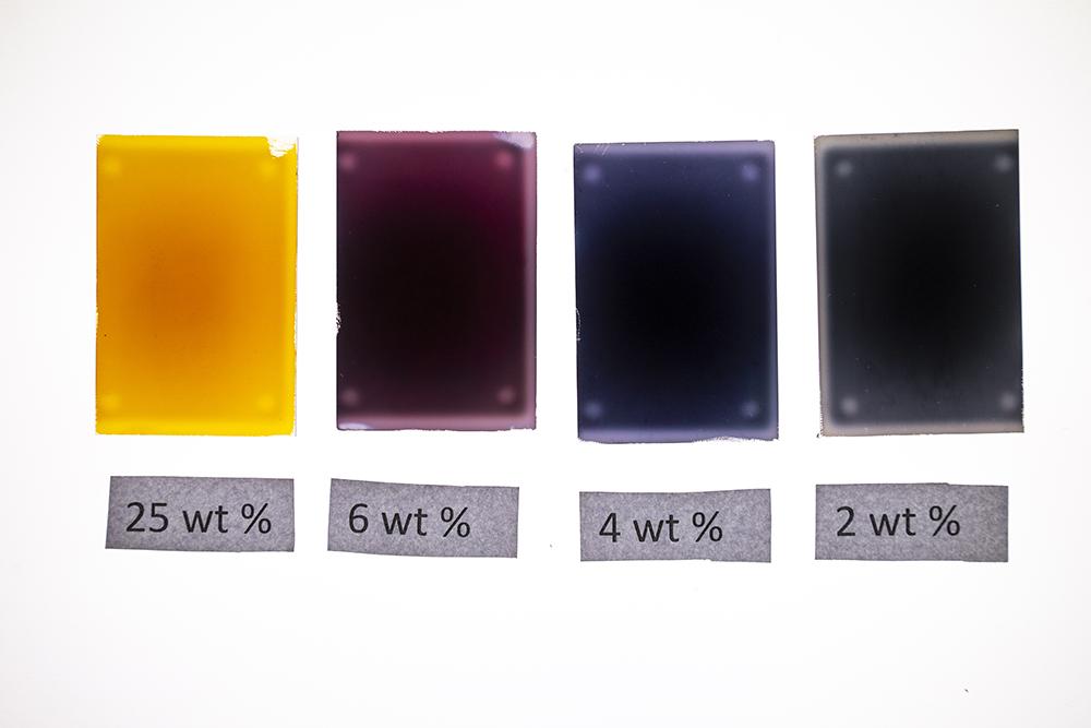 Nanopartiklar av plasmoniskt silver har olika färg beroende på deras morfologi. Foto: Johan Marklund